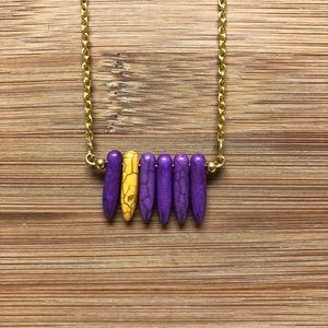 Handmade Faux Purple / Gold Howlite Bar Necklace